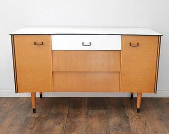 Mid Century Modern Sideboard, or Dressing Table, Upcycled & Painted White. Vintage Retro 1960's