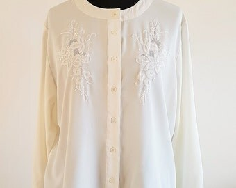 Vintage C&A long-sleeved ivory embroidered blouse | UK Size 16