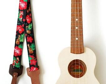 Ukulele Strap _ Red Hula Girl / Ready to ship / ukulele accessories