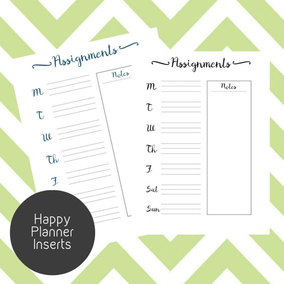 Happy Planner Calendar Refills : Happy planner assignments printable inserts create