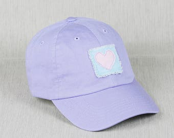 Ladies lavender baseball cap with handmade heart decal