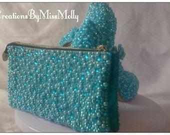 Customised gem/ pearl / rhinestones clutch bag/ handbag/ purse