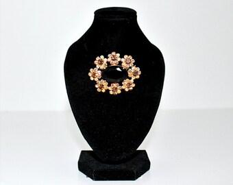 Vintage Oval Black Aurora Borealis Rhinestone Gold-Tone Metal Brooch Pin