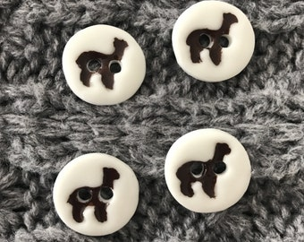 FREE WORLDWIDE SHIPPING, 4 x small Alpaca Llama Porcelain Buttons, Handmade, Alpaca gift, gift for knitting, sewing,  Machine washable.