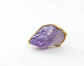 Natural Amethyst Ring, Bohemian Ring, Raw Amethyst Ring, Raw Stone Ring, Raw Crystal Ring, Rough Amethyst, PANTONE 2018 18-3838 Ultra Violet