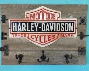 Wooden Sign, Metal Harley Davidson Sign with hooks, Vintage/Antique hardware and aged wood. Coat rack or key holder.