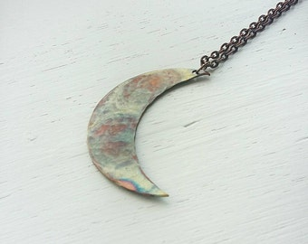 Moon necklace- copper moon necklace- Flame painted copper- Rainbow patina copper- moon pendant- one of a kind- valentine's gift-gift for her
