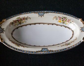 Noritake Fine China Dinnerware Relish Dish N543 Floral Pattern Vintage 1930s Made In Japan