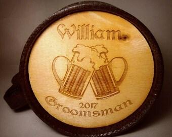 Personalized Groomsmen gift, Groomsman wooden beer mug, Groomsman gift, Personalized Best Man Gift, Grooms gift, Personalized wedding gift