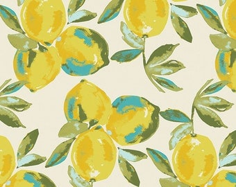 AGF KNIT Lemon Cotton Fabric Jersey Knit Art Gallery Fabrics Yellow Lemons Mist Fabric Stretch Fabric Yuma Lemons Mist Knit Fabric AGF