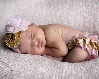 Birthday pink and gold baby bloomer - pink and gold satin bloomer - pink and gold headband - satin ruffles bloomer set - birthday girl gift