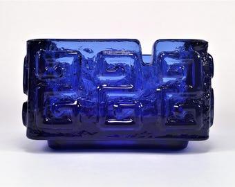 Mid Century Modern Taalari Art Glass Ashtray Bowl Tamara Aladin for Riihimaen Lasi Finland~Blue Cobalt~Vintage 60's