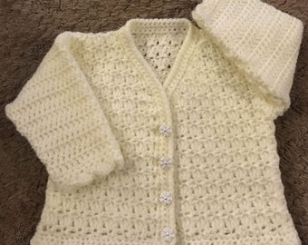 Printed Baby Crochet Cardigan Pattern in DK.  Sizes: Birth to 6 Years. (1010)