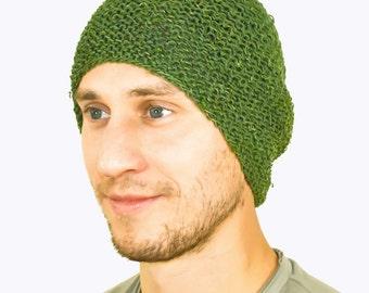 Green Handmade Crochet Hemp Beanie/Hat Spring/Summer/Autumn Hat 50/50% Hemp Cotton