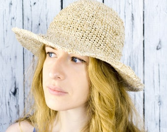 Crochet Sun Hat, Floppy Sun Hat, Floppy Hat, Womens Crochet Hat, Womens Hat Trendy, Hemp Hat, Wide Brim Hat