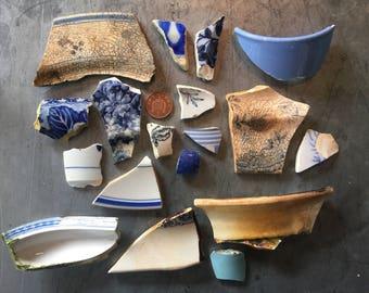 South Coast Sea Tumbled Ceramics - Blues
