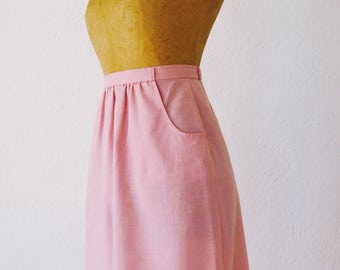 Vintage 1970s 'S' Sherbet Pink Pencil Skirt