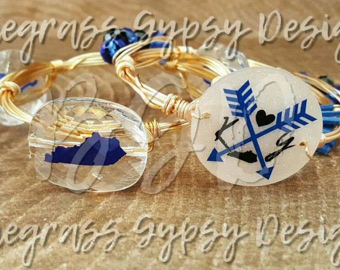 UK wire wrapped bracelet, Kentucky wire wrapped bracelet, blue kentucky, red kentucky, wire bangle, wire bracelet