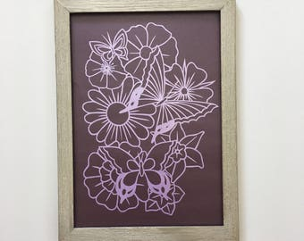 Purple flowers, sale item, purple butterflies, framed, hand cut, papercut, mother's day gift, gifts for her, gifts for mum