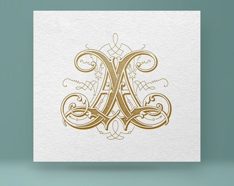 Vintage monogram AA | Wedding Monogram AA