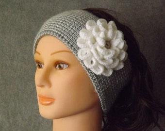 Winter Headband, Ear Warmer, Ear Warmer with Flower, Girl's Headband
