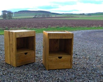 Bedside Units, Cabinets, Nightstands, Tables (Pair) - Reclaimed Pallet Wood - Handmade Furniture