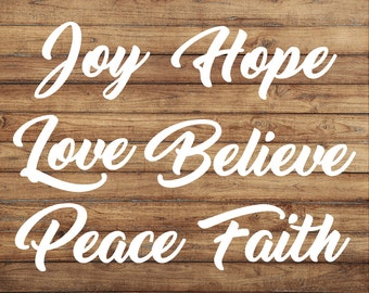 Word Bundle Decal | Joy Hope Love Believe Peace Faith Stickers | Statements | Notebook Sticker | Car Decal | Window Decal | Door Decal