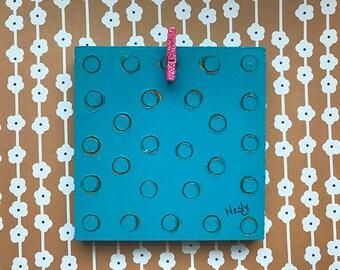 Rustic Teal Blue Photo Display, Clothes Pin, Photo Holder, Wall Decor, Wall Display