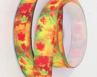 """1"""" Fall Leaves - Printed Grosgrain Ribbon"""