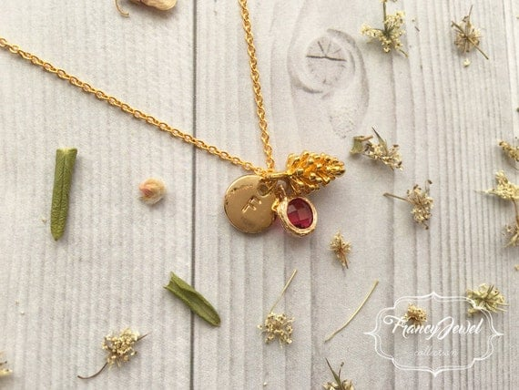 Pinecone necklace, initial necklace, mini pinecone, pine cone necklace, nature jewelry, nature necklace, gold, crystal jewelry, minimalist