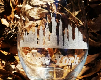 New York city skyline laser engraved wine glass, collector gift, statue of liberty.
