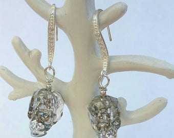 Skull earrings Swarovski, Silver earrings 925 and swarovski, Swarovski skull earrings and silver 925
