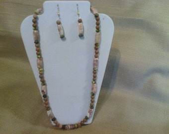 143 Brown Tigerskin Jasper, Green Serpentine and Fancy Marble Beaded Necklace