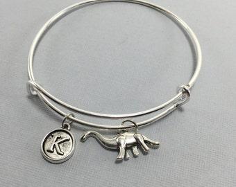 Dinosaur Charm Bracelet - Brontosaurus - Dinosaur Jewelry - Jurassic - Raptor Gift - Valentines Gift - Personalized Jewelry - Initial Charms