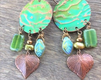 Stamped - Painted - Green - Copper - Hearts - Earrings