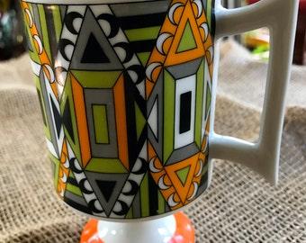 Vintage Retro Geometric Pedestal Mug by PIA Funky  70s