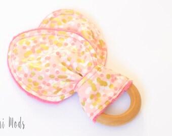 Pink and Gold Organic Wood Teething Ring / Teething Toddler / Easter Basket Baby Gift / Baby Stocking Stuffer / Ready to Ship / UK Seller