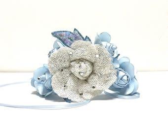 Blue Satin Flower Tiara