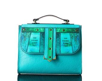Lagoon Bag | Handmade, Eco Leather, Handbag, Backpack, Print, Yellow, Turquoise