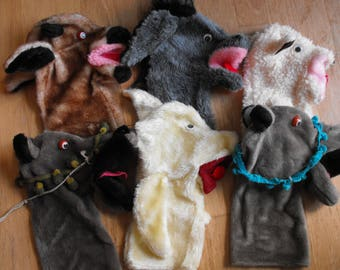 Six Handmade Stage Hand Puppets   (1052)