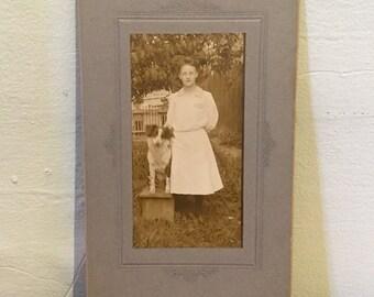 Dog Cabinet Card, Vernacular Photo, St. Louis, Ca: 1907.