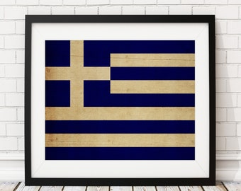 Greece Flag Art, Greece Flag Print, Greek Flag Poster, Country Flags, Flag Painting, Greece Painting, Greece Print, Wall Art, Athens, Gifts
