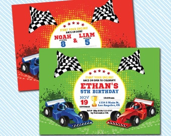 Digital Printable Race Car Birthday Invitation