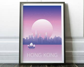Hong Kong Poster, Hong Kong Wall Art, Minimalist Travel Print, Wall Art Prints, Modern Travel, Hong Kong Print, Travel Wall Art, Minimalist
