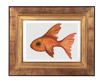 Goldfish Painting Print, Watercolour Goldfish  Print, Goldfish Gift, Bathroom Decor, Goldfish Decor, Printable Goldfish Art