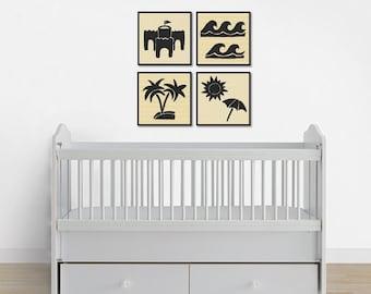 Beach Print Set, Nursery Art, Instant Download Beach Prints, Printable Beach Art, Beach Wall Art, Beach Decor, Home Decor, Nursery Prints