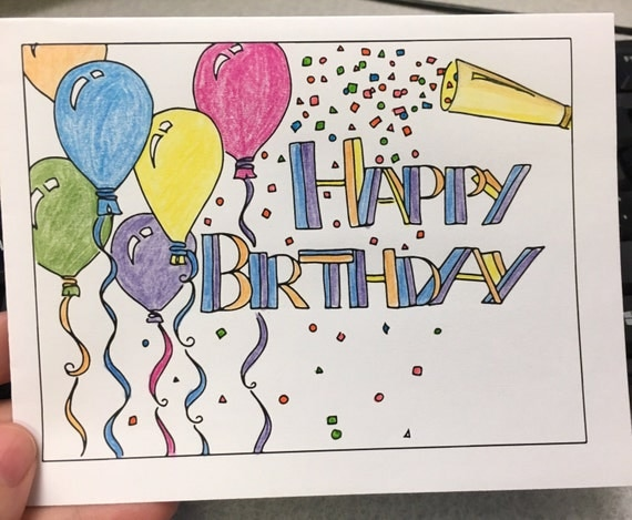 Color Your Own Birthday Cards Print Designs Digital Download Balloons Confetti DIY Instant Happy
