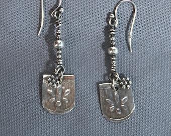 Handmade Sterling Silver Flower Earrings.
