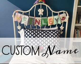 Custom fabric banner name, nursery or childrens room decor, eclectic and colorful
