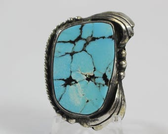 Vintage Navajo Spiderweb Turquoise Sterling Silver Ring #E66